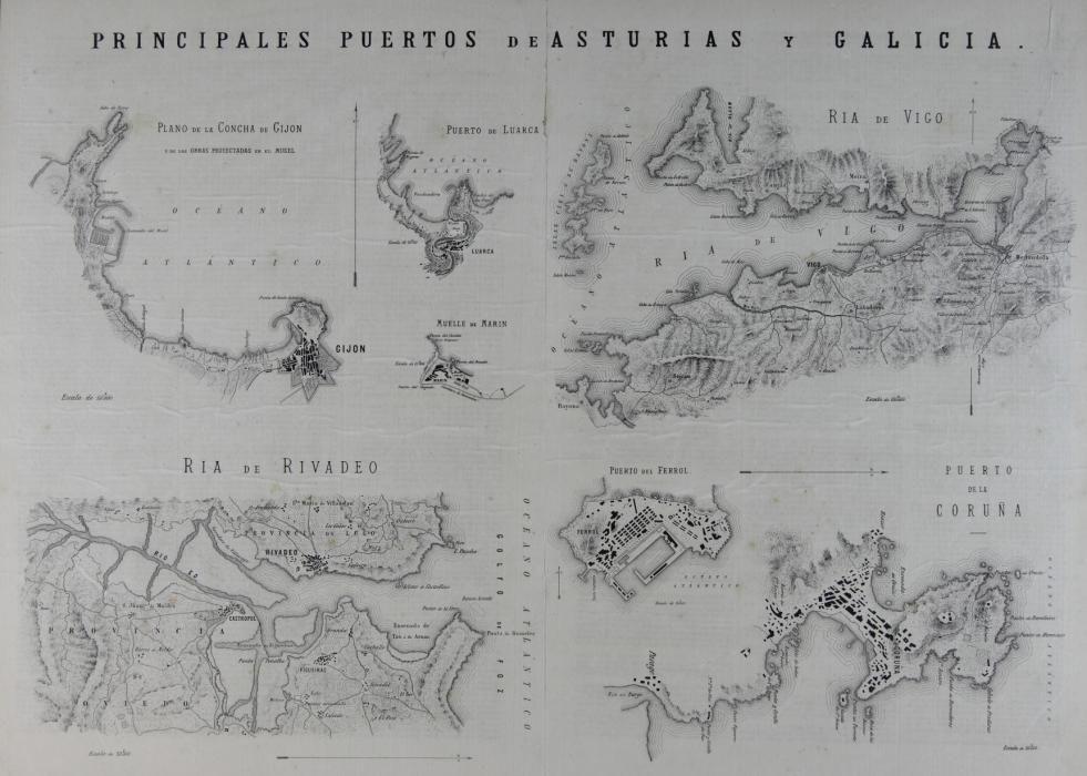 Principales puertos de Asturias y Galicia, de A. Chao (1880)