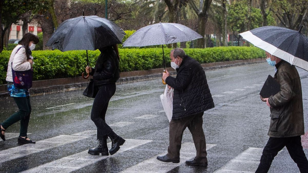 Día de lluvia en el centro de València.