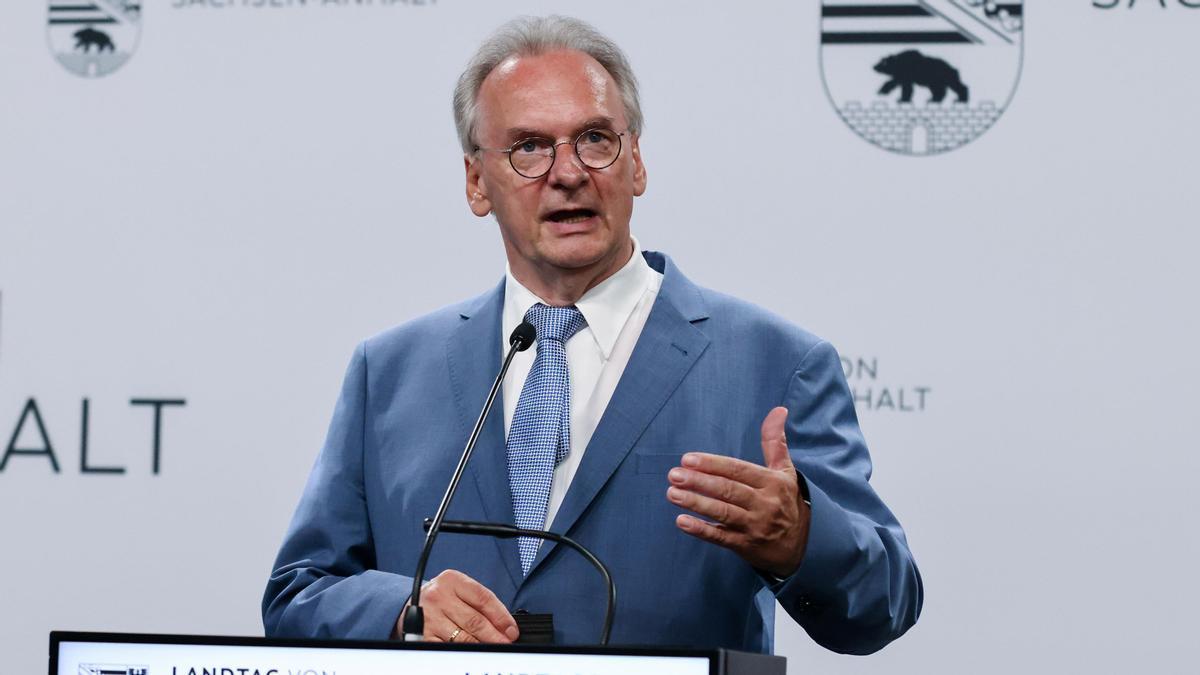 El candidato de la CDU, Reiner Haseloff, en Sajonia-Anhalt.