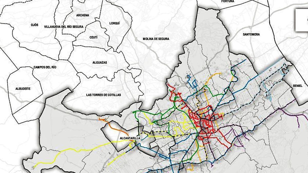 Líneas representadas por ámbito funcional de las distintas líneas de                                                                            autobús.   L.O.