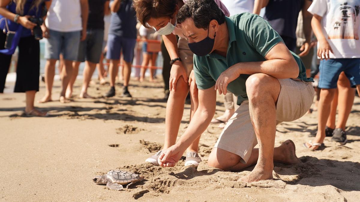 El presidente, Juanma Moreno, durante la suelta de las tortugas boba este domingo en Fuengirola
