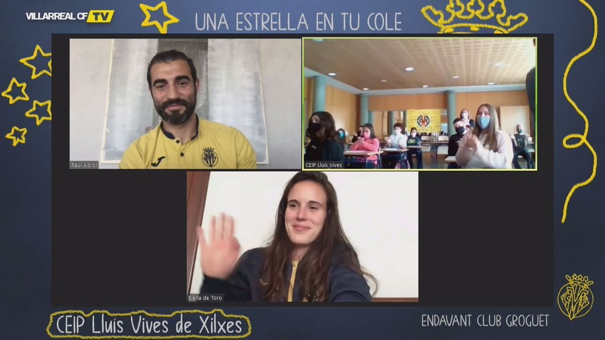 Videoconferencia de Raúl Albiol y Elena de Toro con los niños del colegio Lluís Vives de Xilxes