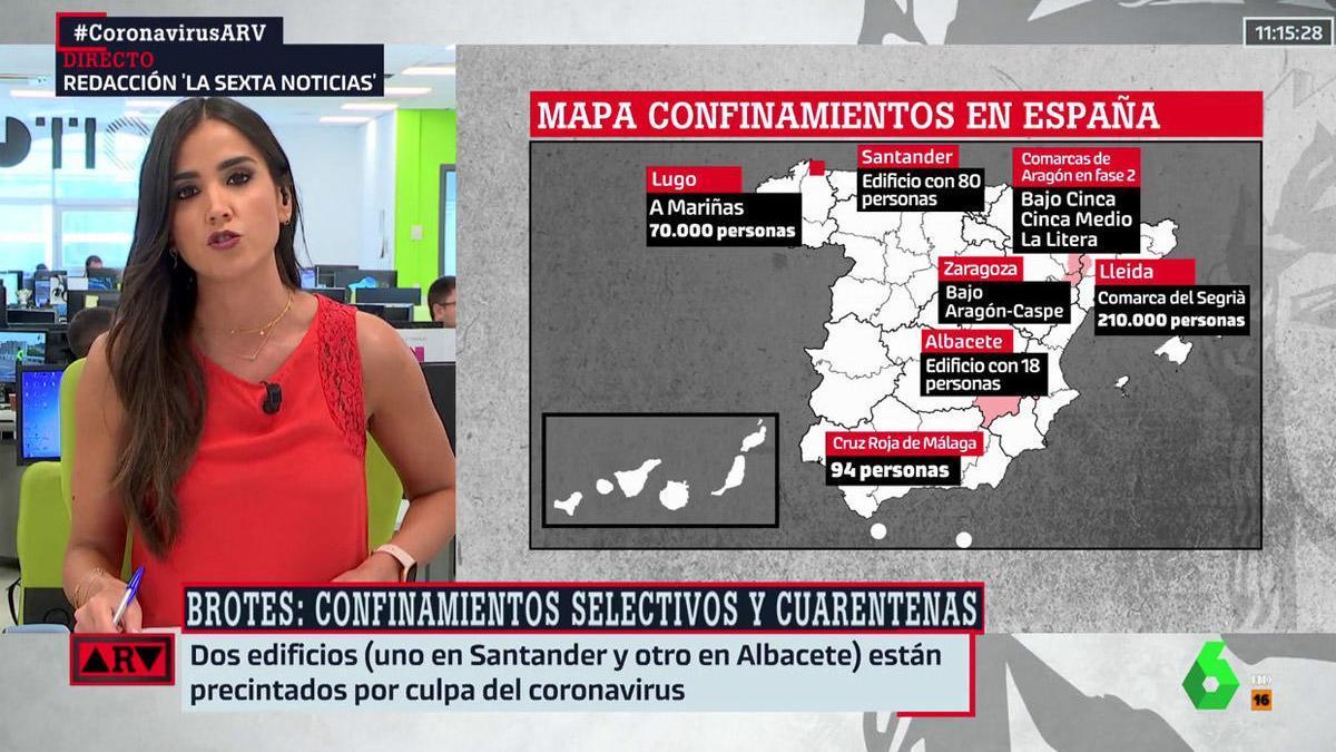 El mapa emitido en La Sexta, sin la isla de La Palma.