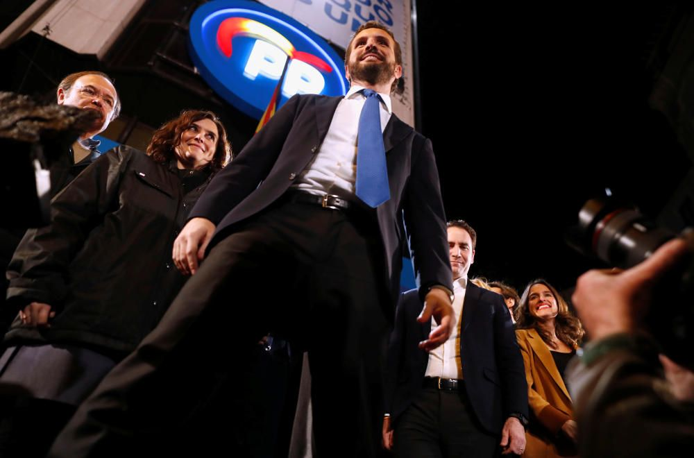 Spain's People's Party candidate Pablo Casado at ...