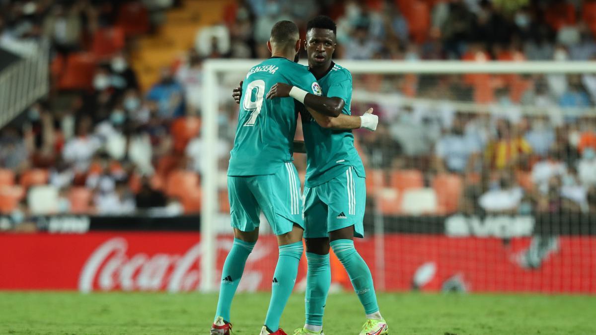 Benzema y Vinicius, los goleadores del Real Madrid este fin de semana.