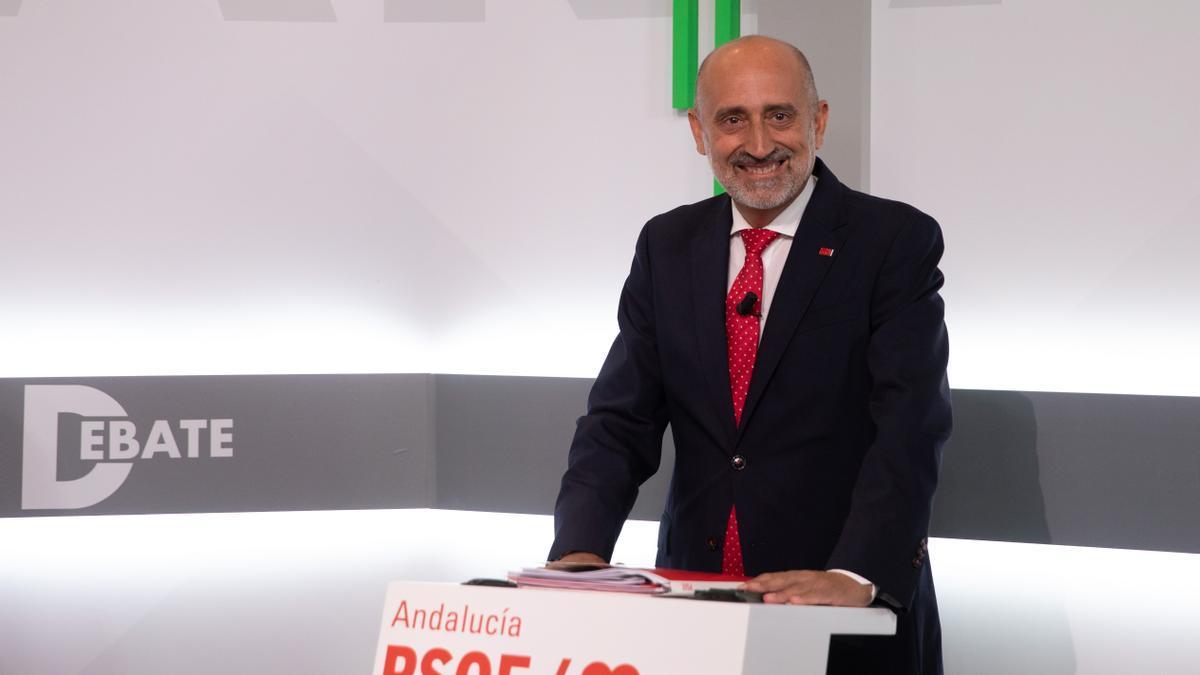 Luis Ángel Hierro, en el debate entre los tres candidatos de las primarias del PSOE-A a 08 de junio del 2021 en Sevilla, Andalucía