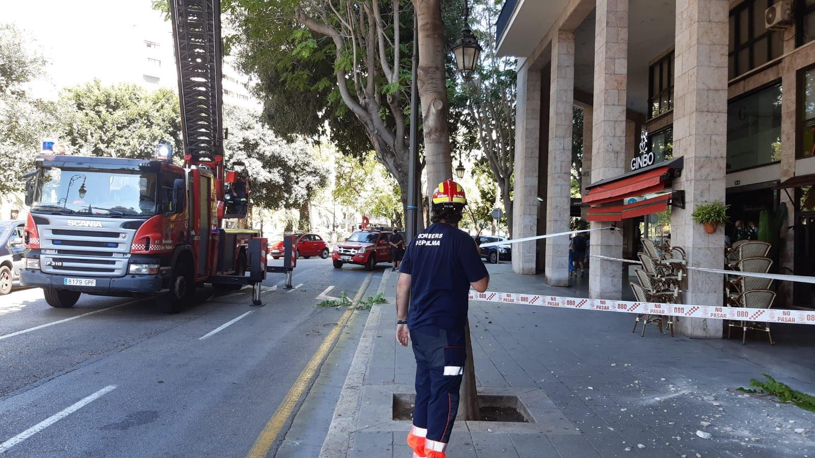 Desprendimiento de cascotes en una fachada de Paseo Mallorca
