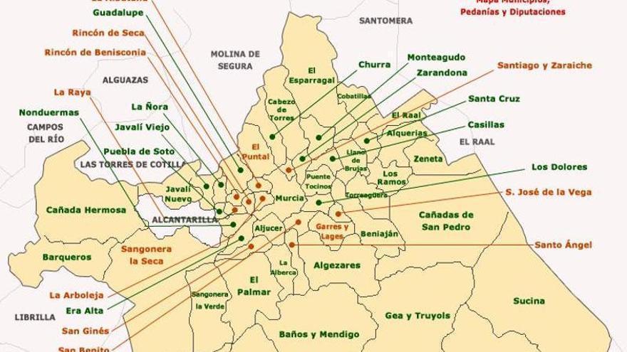 Estas son las pedanías de Murcia que cambiarán de Gobierno