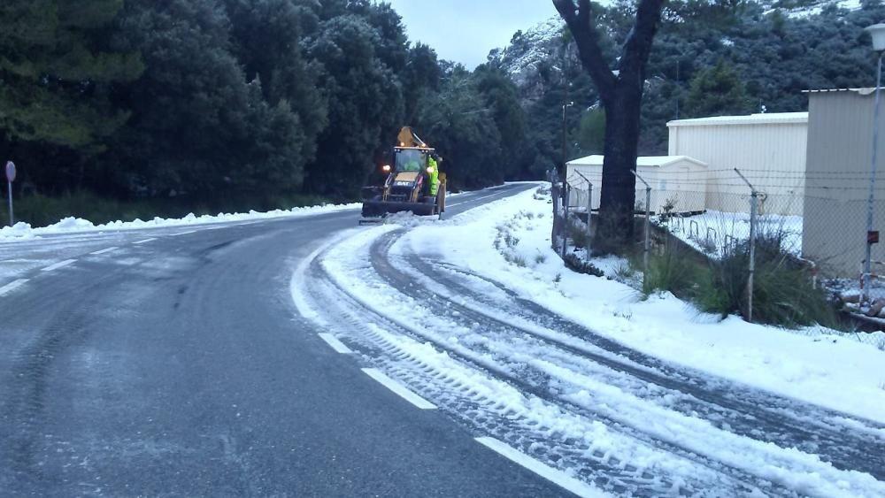 Schneefall auf Mallorca - Verkehrschaos in den Bergen