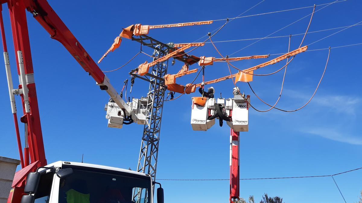 Operarios de la empresa i-DE, distribuidora del Grupo Iberdrola, realizan una instalación de protección en una torre de alta tensión.