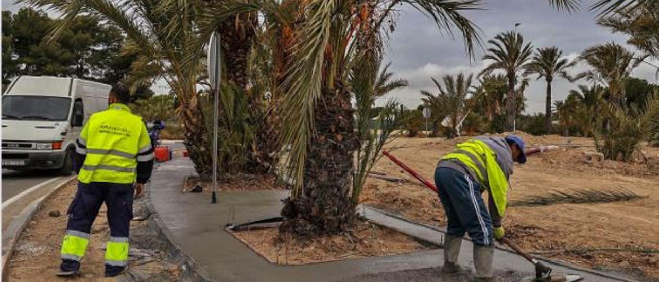 Operarios cementan una rotonda con palmeras en la Ronda Norte de Elche.