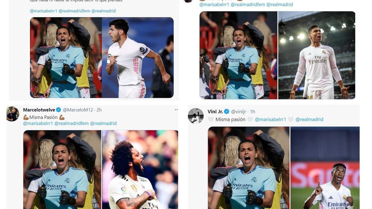 Capturas de pantalla de los tweets de futbolistas como Asensio, Marcelo o Vinicius.