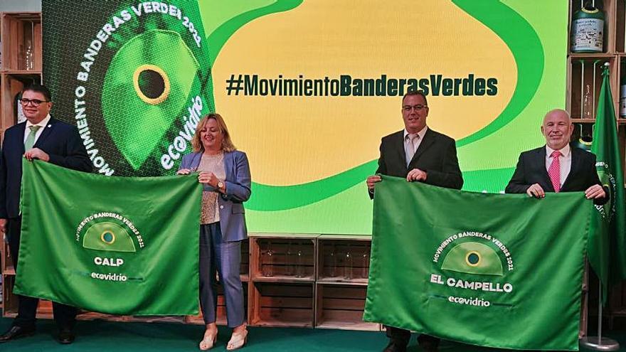 El Campello y Calp recogen la bandera verde por ser los mejores en reciclaje de vidrio