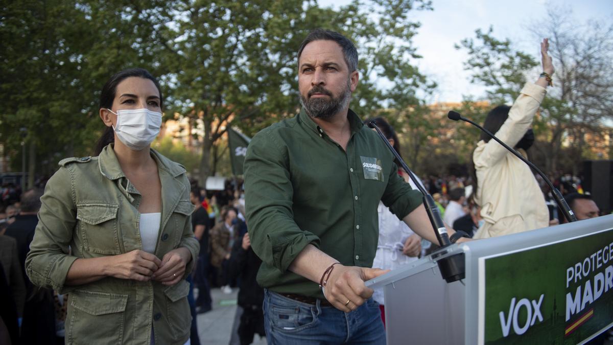 Santiago Abascal en el mitin de Vox en Vallecas.