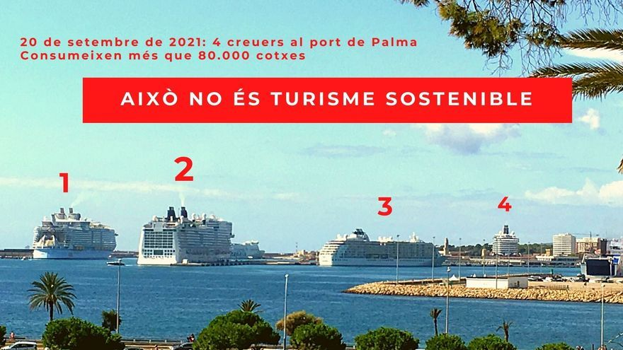 Cuatro grandes cruceros coinciden en el puerto de Palma este lunes