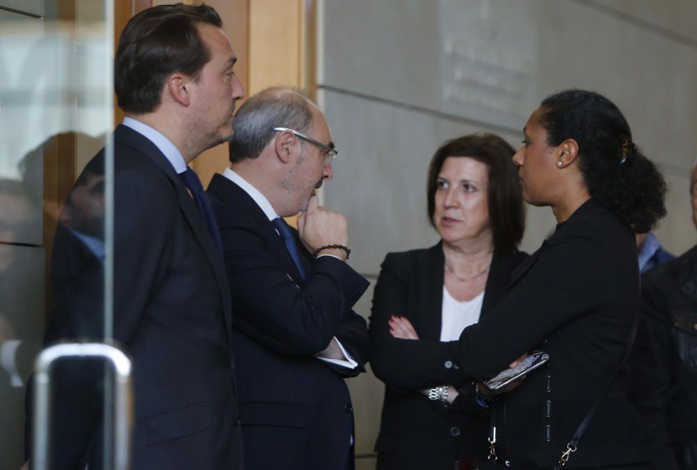 El presidente del Levante UD, Quico Catalán, el concejal del Ayuntamiento de Valencia, Eusebio Monzó, y la exconsellera, Lola Johnson