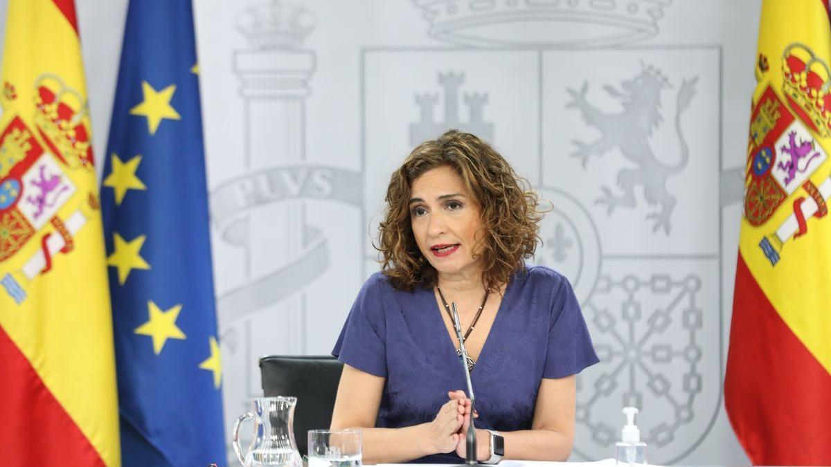 La ministra de Hacienda, María Jesús Montero, en la rueda de prensa posterior al Consejo de Ministros