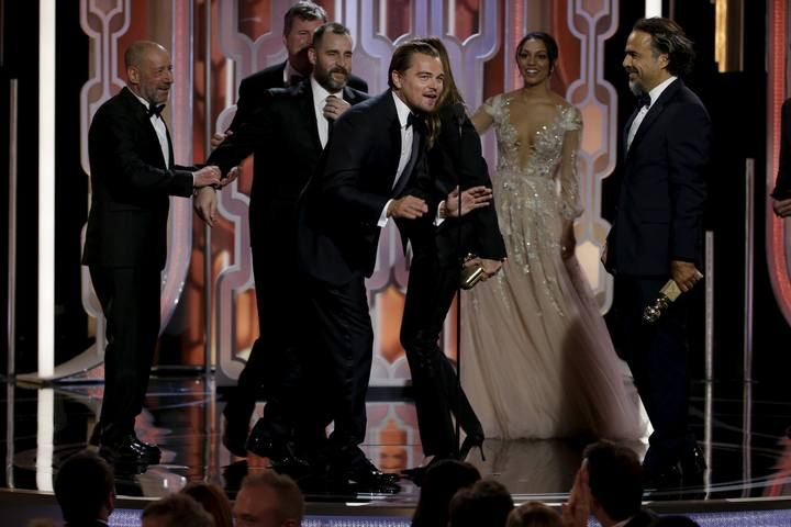 "DiCaprio speaks after ""The Revenant"" won Best Motion Picture, Drama, at the 73rd Golden Globe Awards in Beverly Hills"