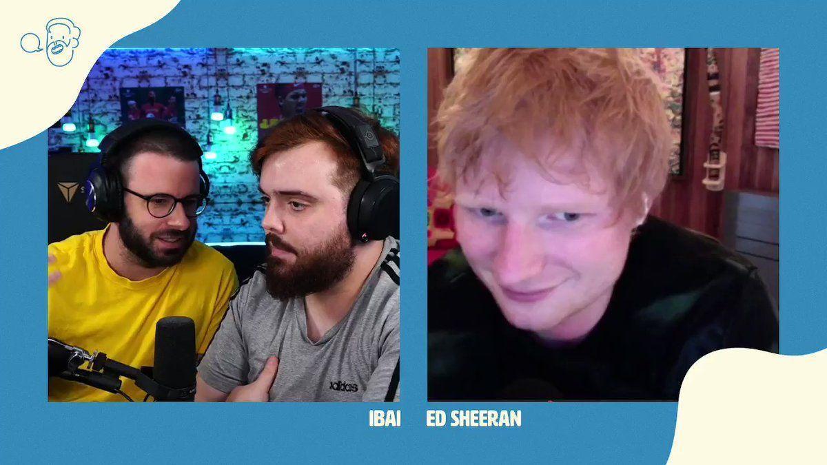 Ed Sheeran, Ibai y Barbe, durante un momento de la entrevista.
