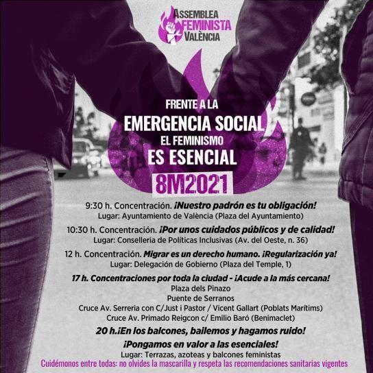Manifestaciones del 8M en València ciudad: Horario y recorrido