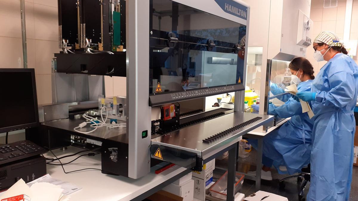 La máquina del Hospital de Elda que analiza los test PCR