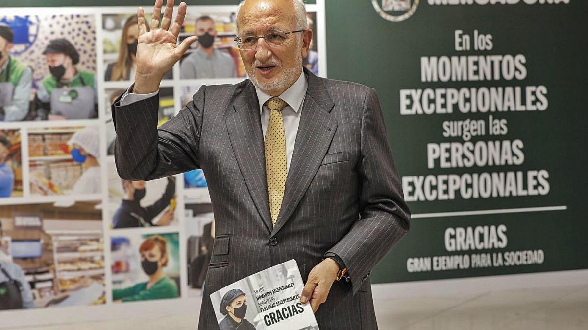 El president de Mercadona, Juan Roig, ahir a Paterna, València.
