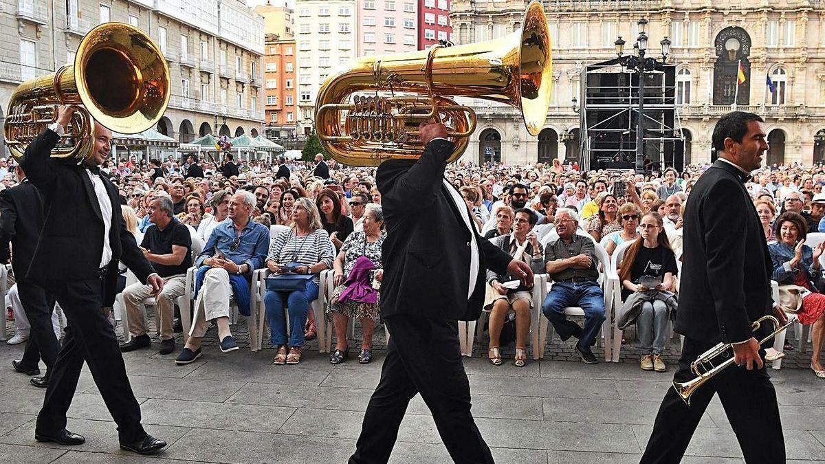 Concierto de la Banda Municipal, en María Pita.