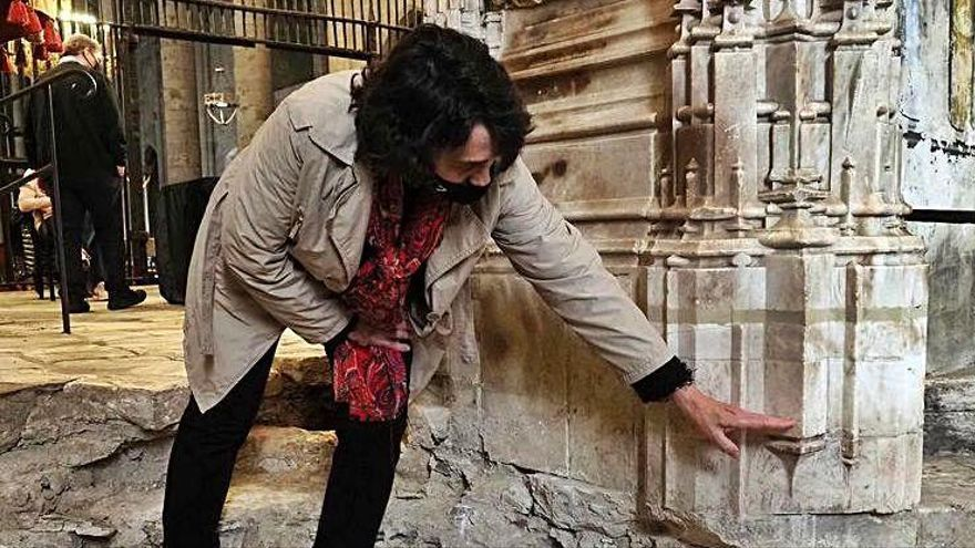 Troben l'estructura original  del retaule del segle XV a la basílica de Castelló d'Empúries