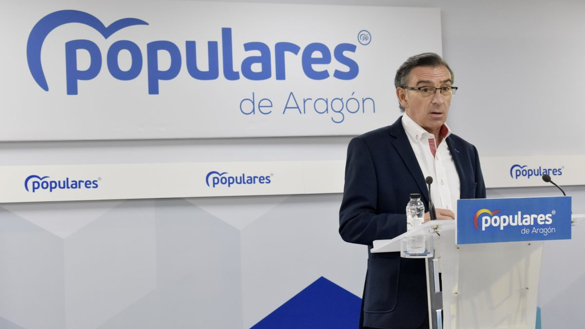 El presidente del PP de Aragón, Luis María Beamonte, este miércoles en la sede de los populares.
