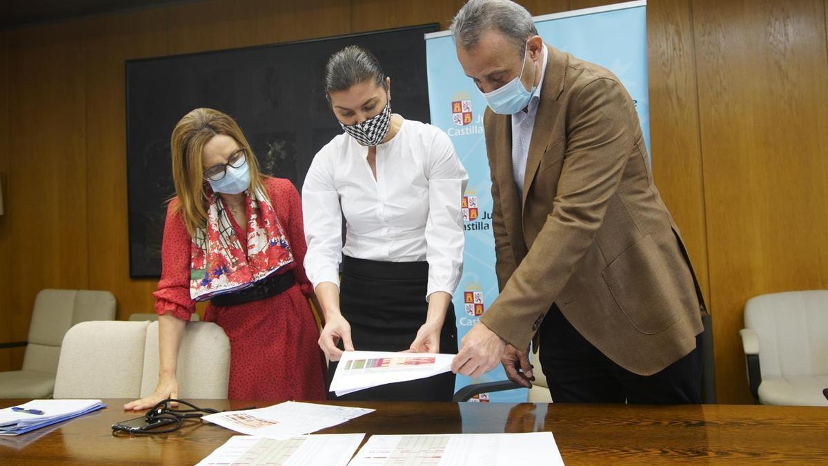 Responsables de la Junta y de la Gerencia de Salud de Zamora analizan la situación sanitaria, esta mañana.