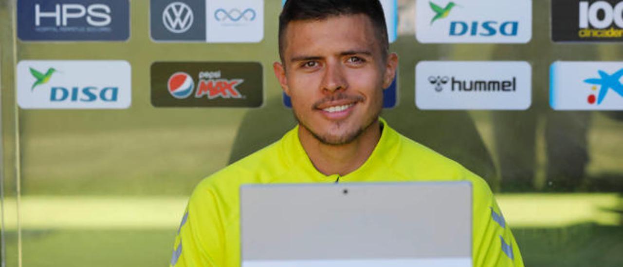 El delantero colombiano de la UD Narváez, ayer, durante su comparecencia telemática con los medios de comunicación desde Barranco Seco.