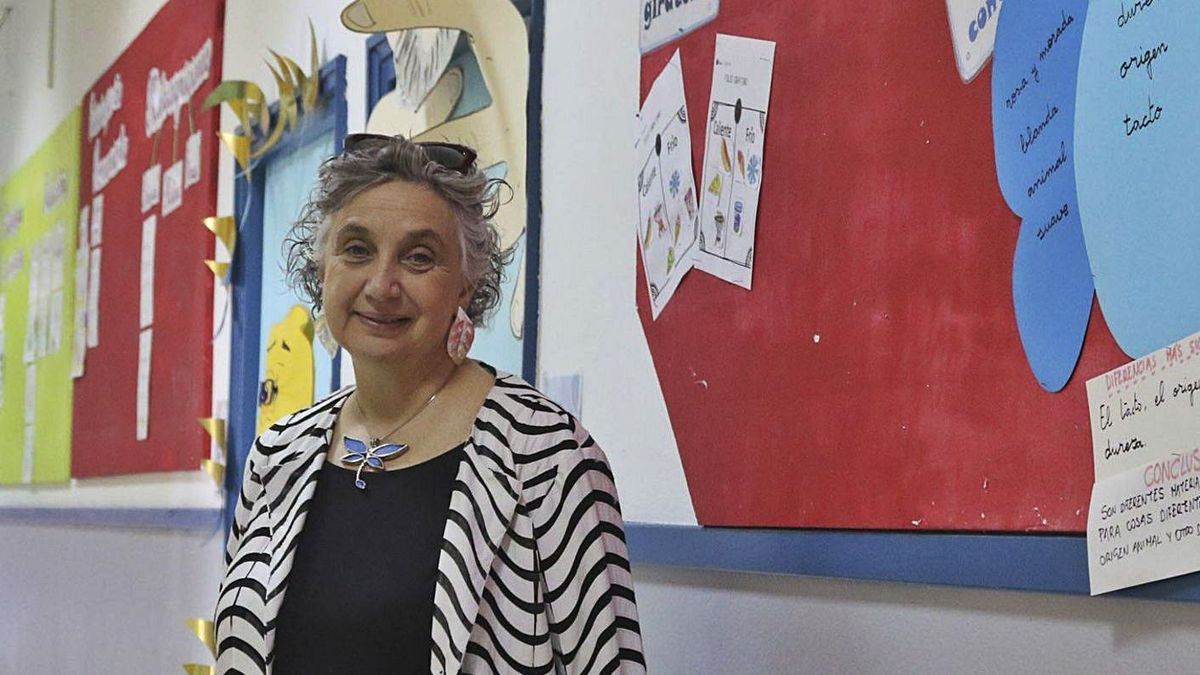 Carmen Pellicer, en una visita al colegio de la Fundación Trilema en Zamora.