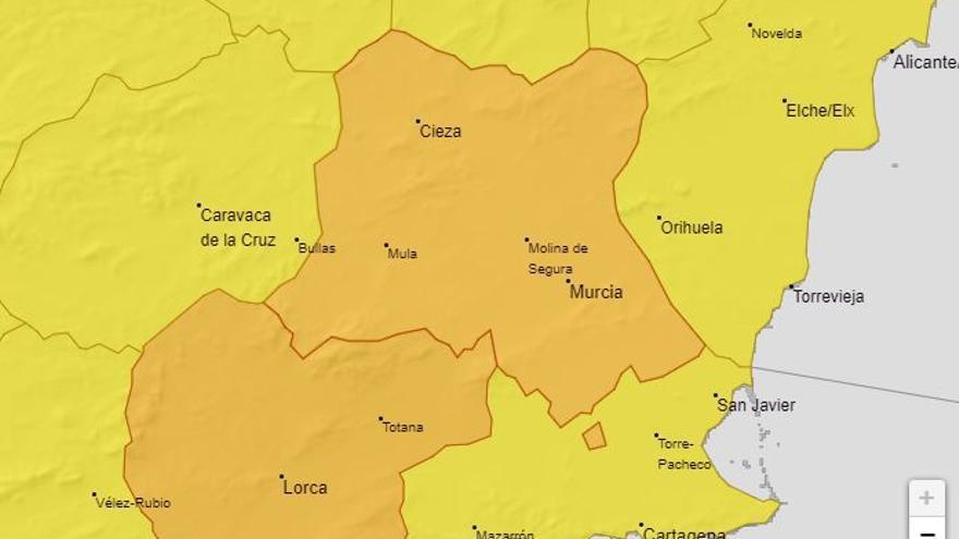 DANA en Murcia: La AEMET eleva a naranja el riesgo por las lluvias en el interior