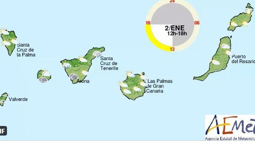 Sábado con lluvias en Canarias