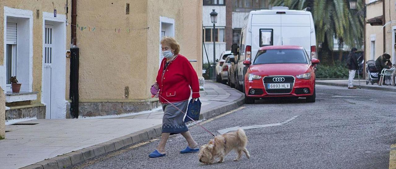 Una vecina del Nodo pasea su perro por el barrio. | Eliana Lamata