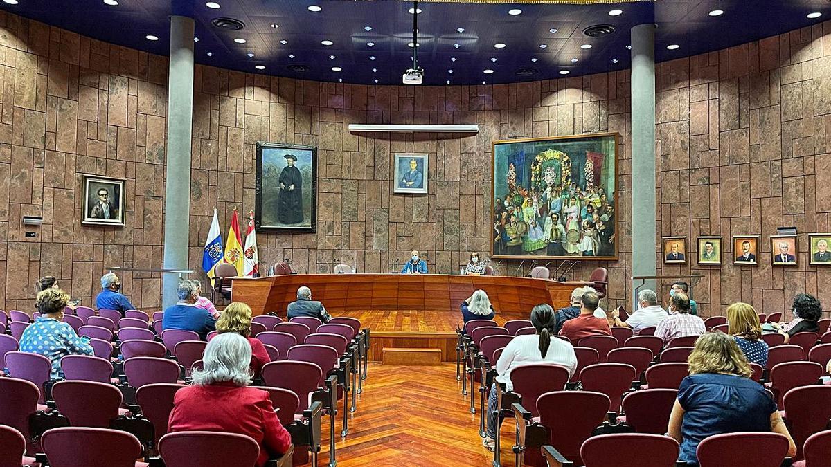 Reunión con colectivos insulares en el Cabildo de La Gomera.     E.D.