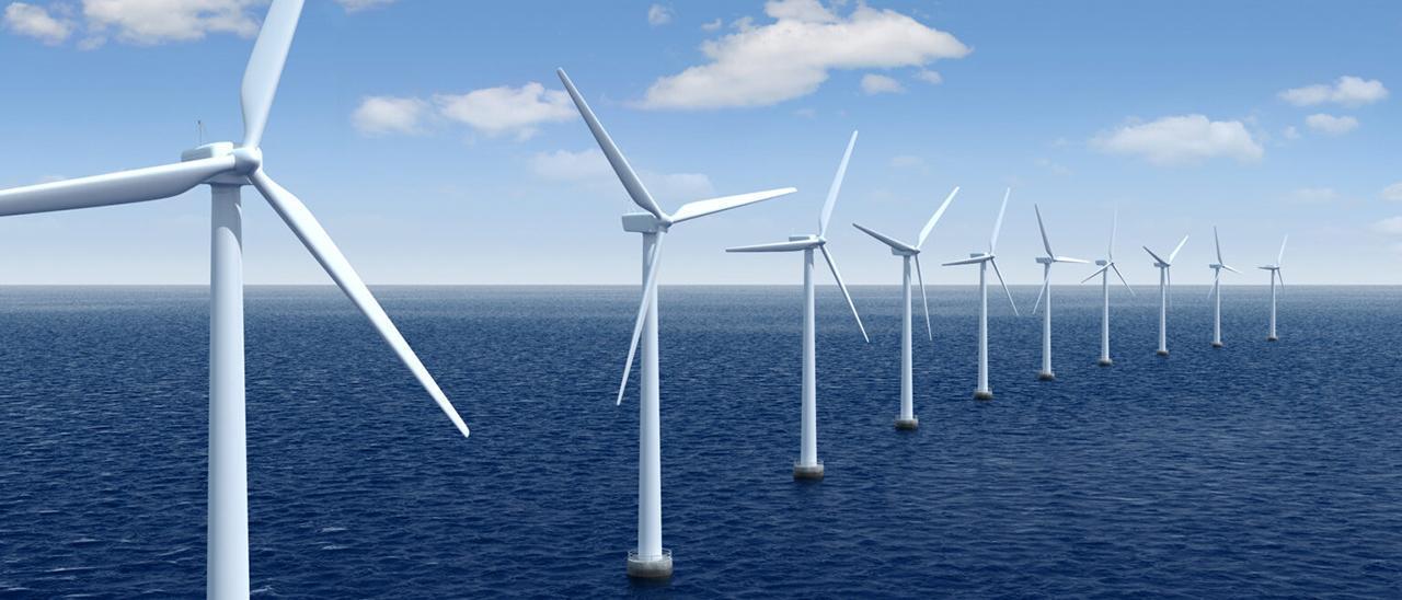 Recreación de aerogeneradores en medio del mar