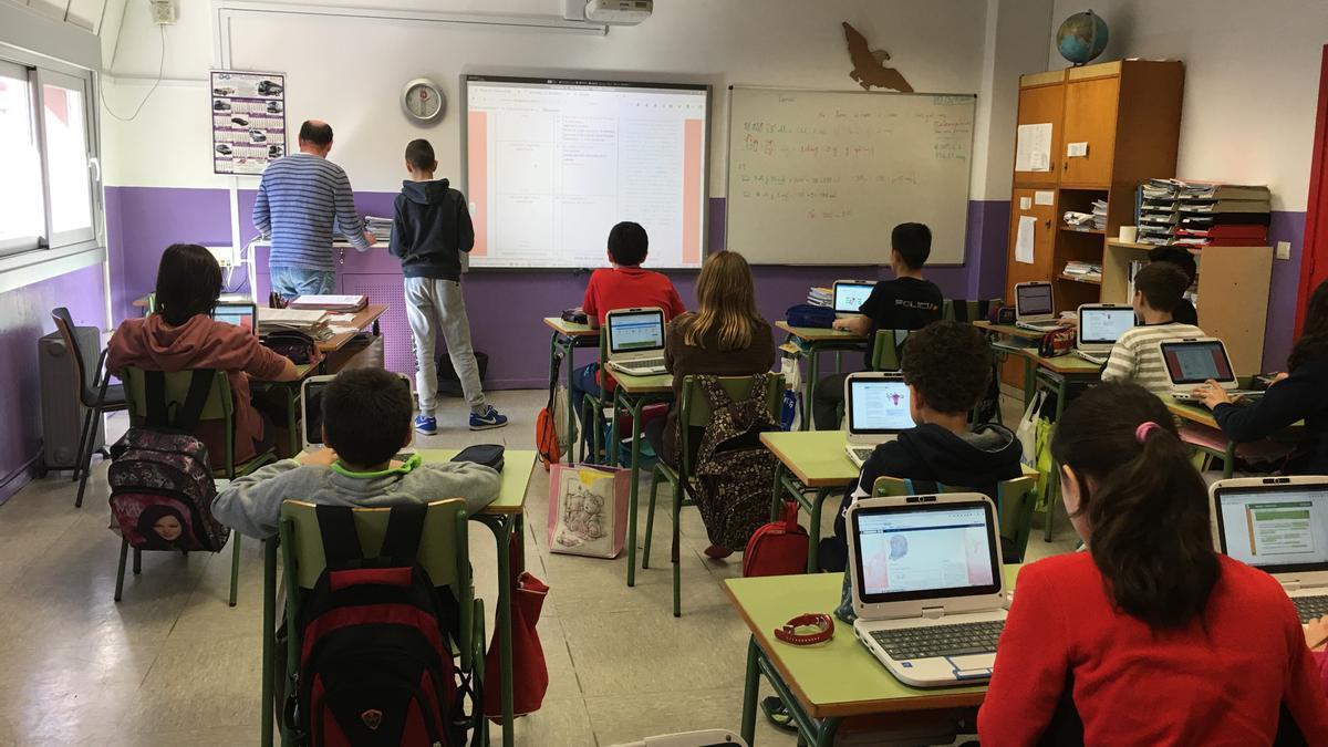 Alumnos en un colegio gallego.