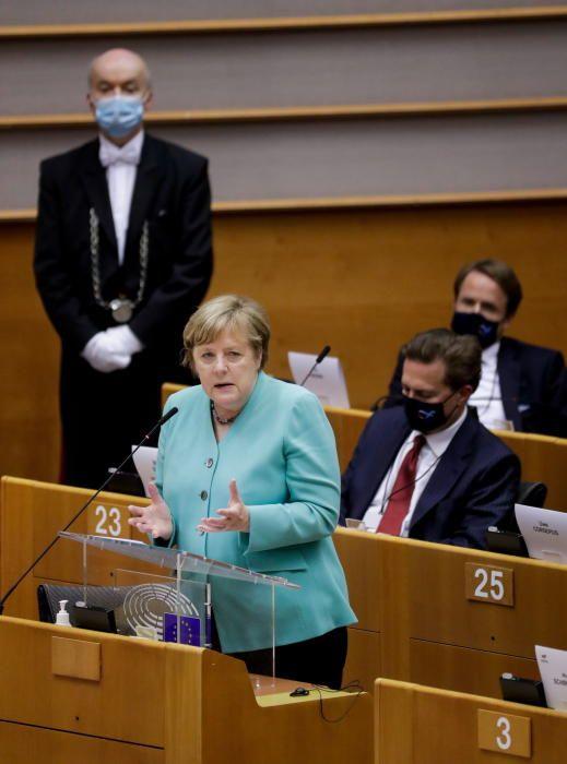 Ángela Merkel en el Parlamento Europeo