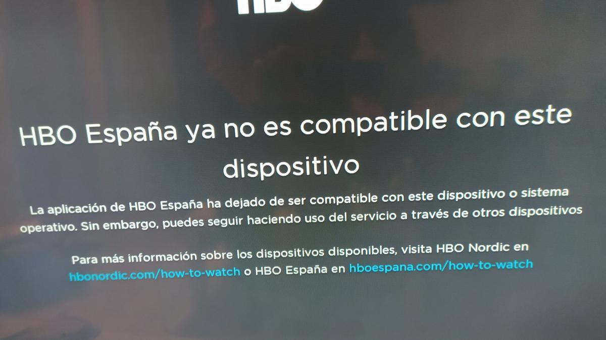 El error que muestra la app de HBO en algunos dispositivos.