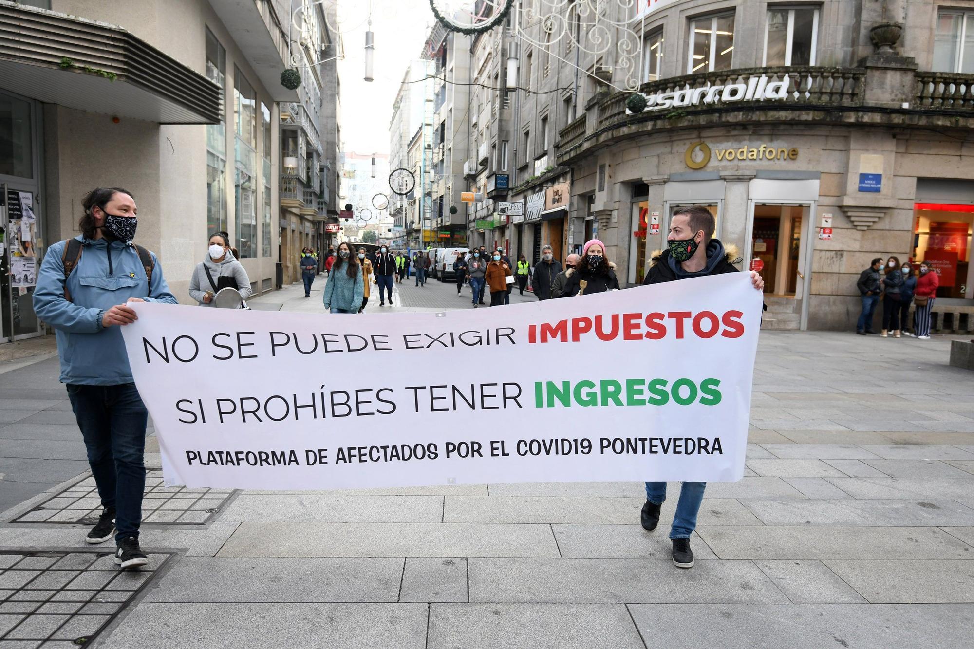 La concentración de los hosteleros en Pontevedra.