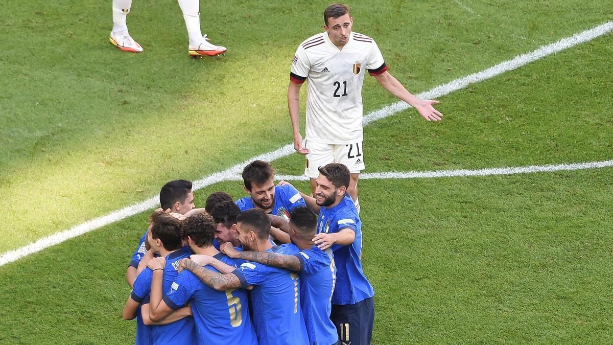 Italy celebrates a goal against Belgium.
