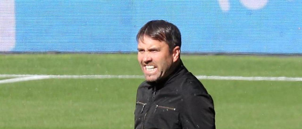 Eduardo Coudet sigue las evoluciones de sus jugadores en el partido contra Osasuna. |  // MARTA G. BREA