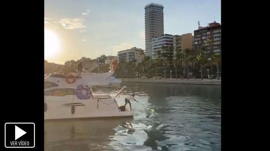 Viral redes: El rescate de una sandalia en el Puerto de Alicante... con un yate