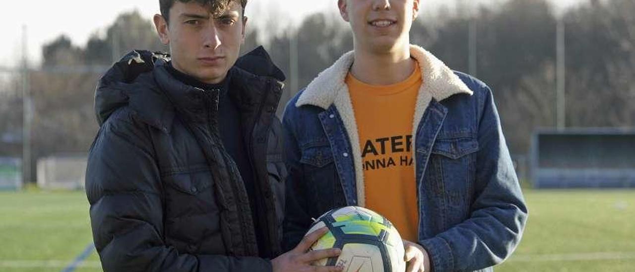Adrián Cuñarro y David Coego, ayer, en el Manuel Anxo Cortizo. // Bernabé/Javier Lalín