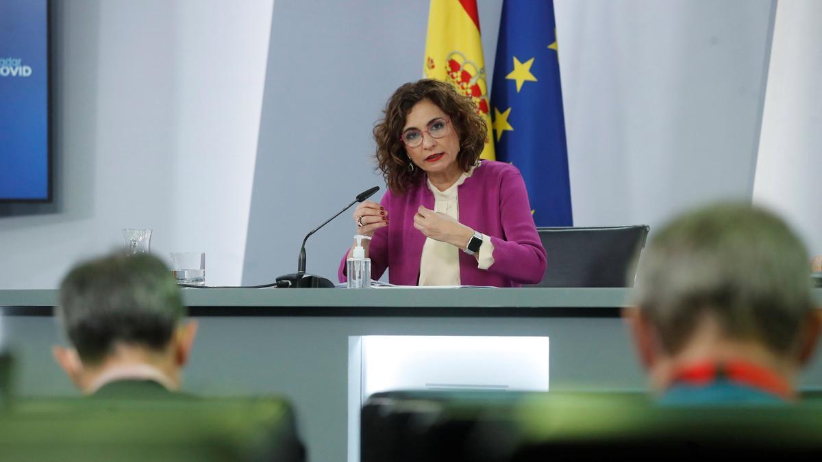María Jesús Montero en la rueda de prensa tras el Consejo de Ministros.
