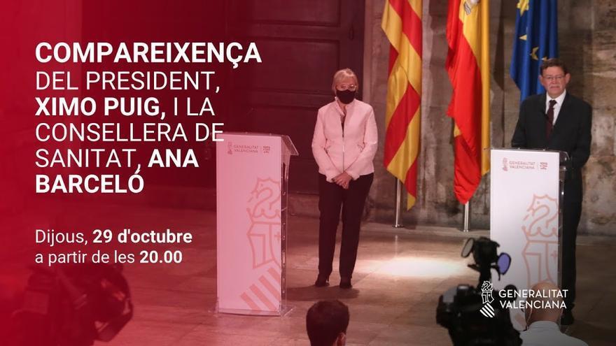Directo: Comparecencia del president de la Generalitat, Ximo Puig