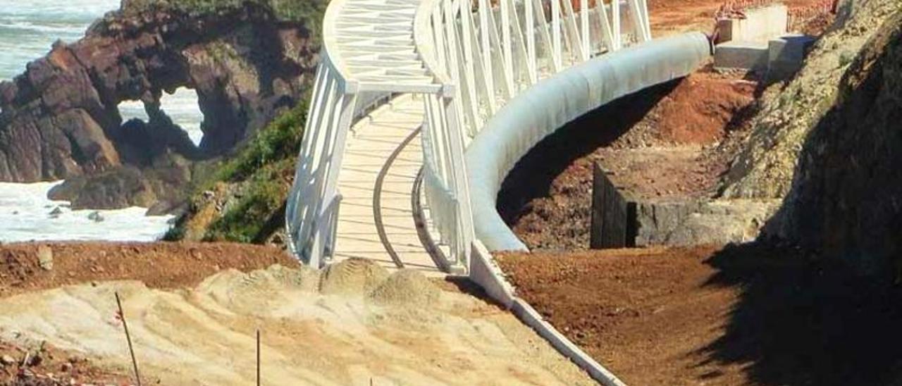 El paso del Tranqueru con la pasarela ya instalada.