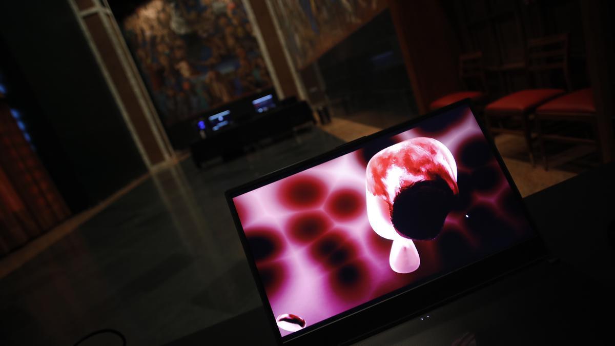 Uno de los montajes de Lev Festival, en Laboral, en una de las ediciones de años precedentes.