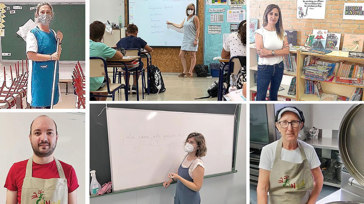 Aurora González, Elena Aris, Manoli Rodríguez, Javier Boix, Rocío Montolio y Natividad Peña.